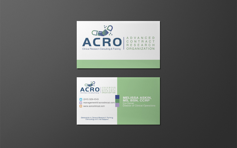 Advanced Contract Research Organization Logo and Business Card